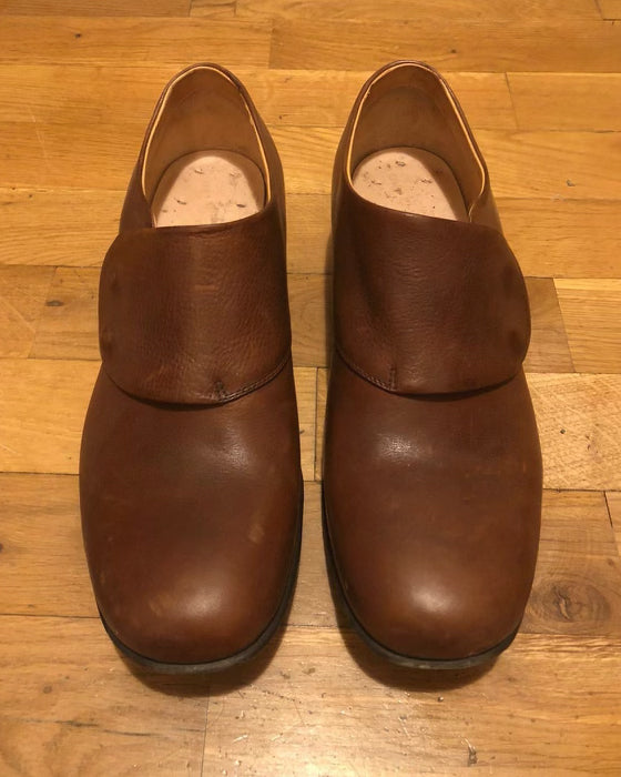 Hand Made Hand Painted Brown Leather Farmers Shoe