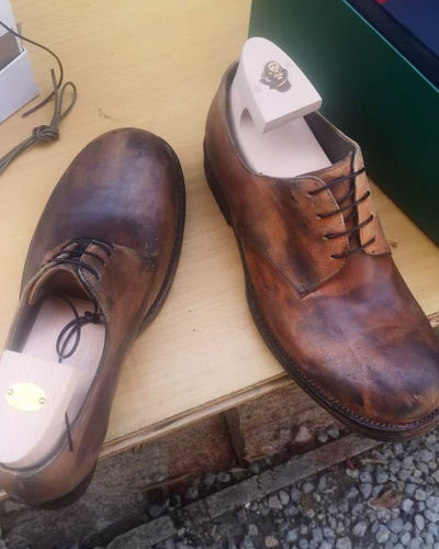 Hand Made Hand Painted Brown Leather Farmers Shoe Laced
