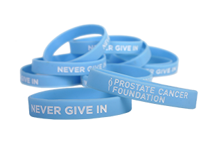 "Prostate Cancer ""Never Give In"" Awareness Wristbands"