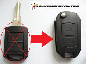 2 button flip key case upgrade for Vauxhall Opel Corsa C Meriva Combo remote fob - HU46 blade profile