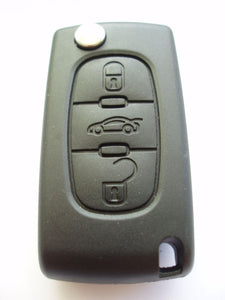 Replacement 3 button flip key case for Peugeot 407 607 307CC remote fob - battery attached to case