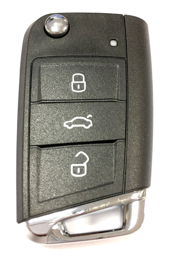 Replacement 3 button flip key case for Skoda Octavia remote fob 2012 - 2018