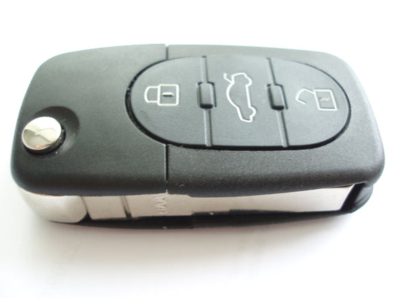 Replacement 3 button flip key case for Audi A3 A4 A6 A8 TT remote fob - double battery holder