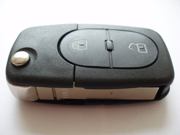 Replacement 2 button flip key case for Audi A3 A4 A6 A8 remote flip key fob - double battery holder