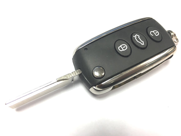 Replacement 3 button flip key case for Bentley Continental GT remote fob