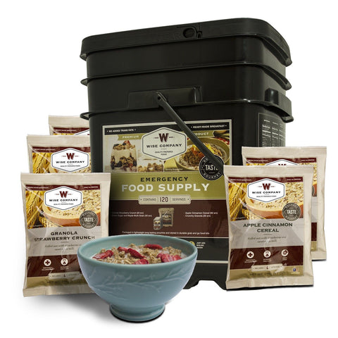 Long Term Food Storage - 120 Serving Breakfast Only Grab And Go Bucket