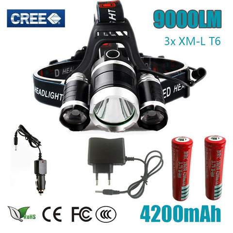 Led Headlight 9000 Lumen 3 T6 Headlamp