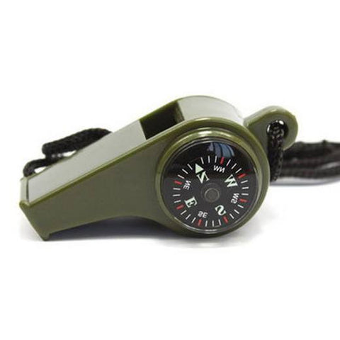 Survival Gear - 3 In1 Camping Hiking Emergency Survival Gear Whistle Compass Thermometer Outdoor Need Army Green Color