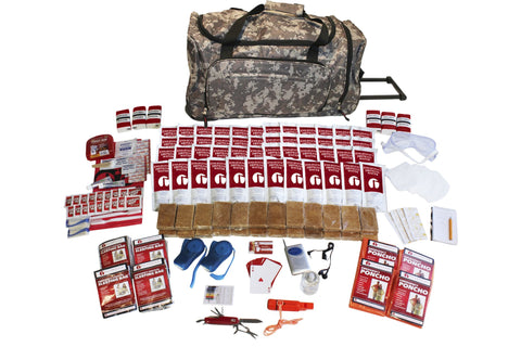 4 Person Deluxe Survival Kit in Wheel Bag Camo