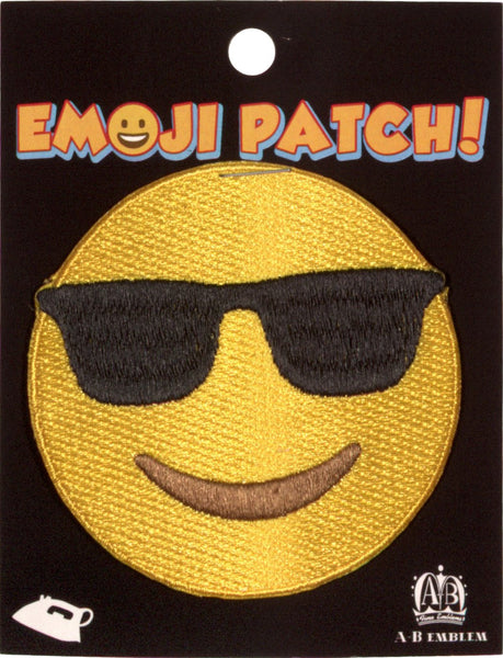 Smile with Sunglasses Emoji Iron-On Patch