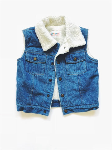 Jean vest with sheepskin lining 24 months