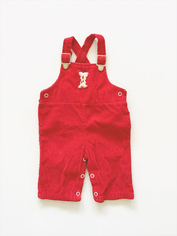 Corduroy red dungarees labelled size - 6 months