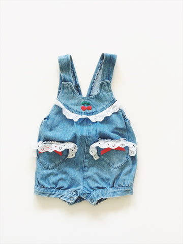 Denim cherry romper labelled size - 18 months