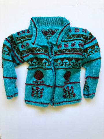 Hand knit turquoise sweater 3-4 years