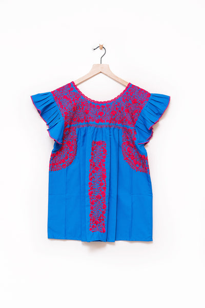 Oaxaca Ruffle Top - S/M (Blue and Pink)