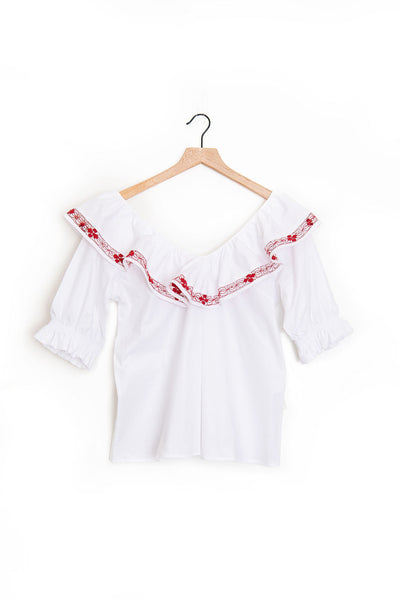 Deshilado Ruffle Short Sleeve Top