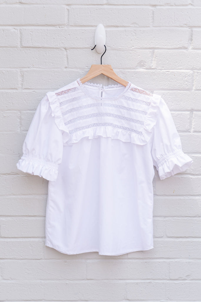 Olivia Ruffle Short Sleeve Deshilado Top