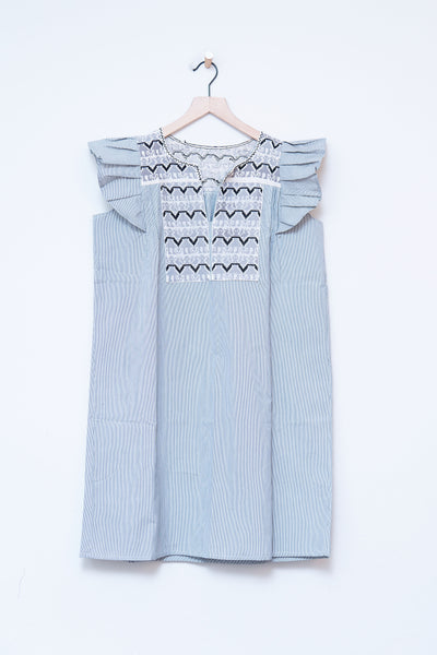 Punto De Cruz Gray Stripe Ruffle Dress - Medium