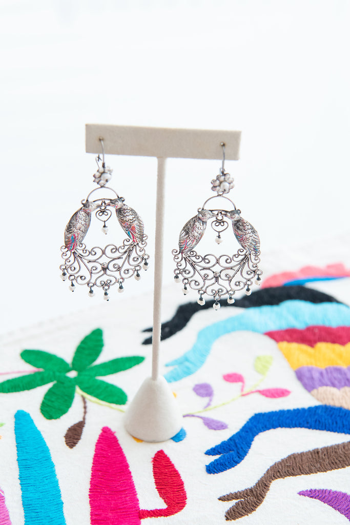 Sterling Silver Earrings with Pearl Detail