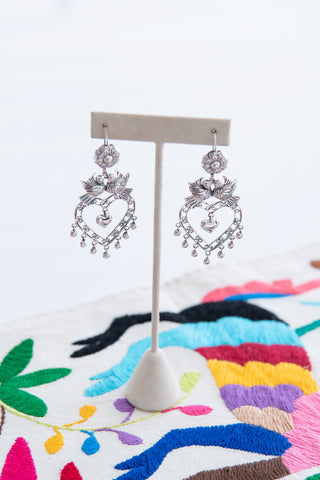 Silver Filigree Heart Earrings