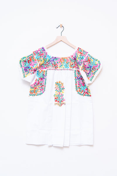 Oaxaca White & Mulit Color Short Sleeve Top - XS/S
