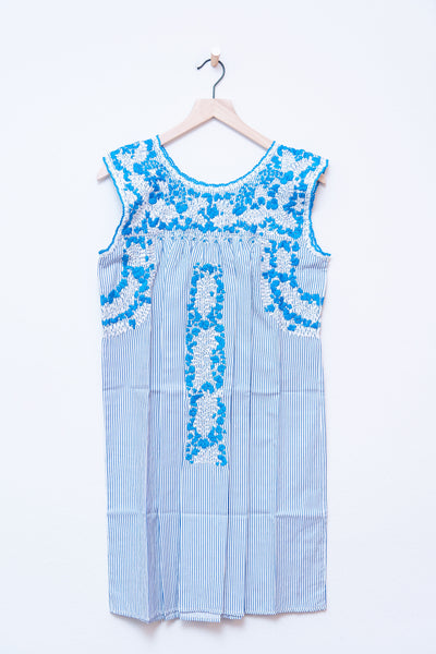 Oaxaca Blue Stripe & Turqouise/White Dress