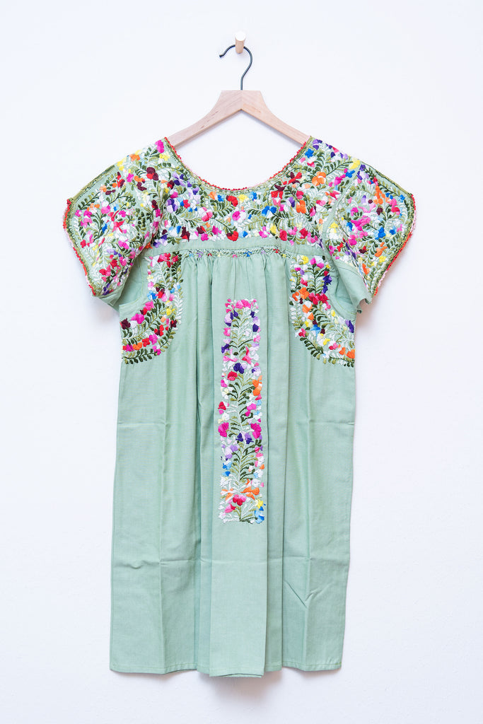 Oaxaca Green & Multi Color Short Sleeve Dress