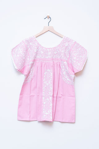 Oaxaca Pink & White Short Sleeve Top