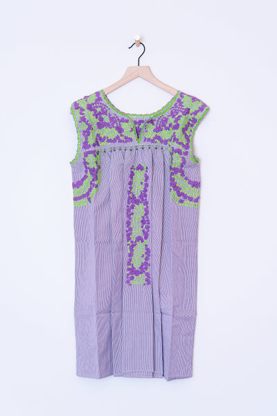 Oaxaca Gray Stripe and Purple/Green Dress