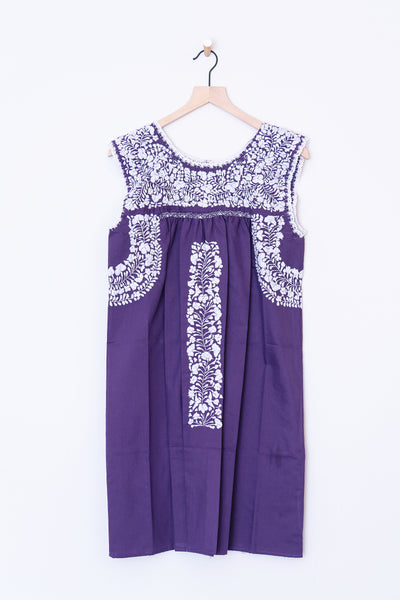 Oaxaca Purple & White Dress