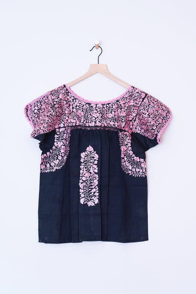 Oaxaca Black & Pink Top