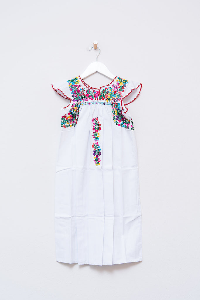 White and Multi Color Niña Dress