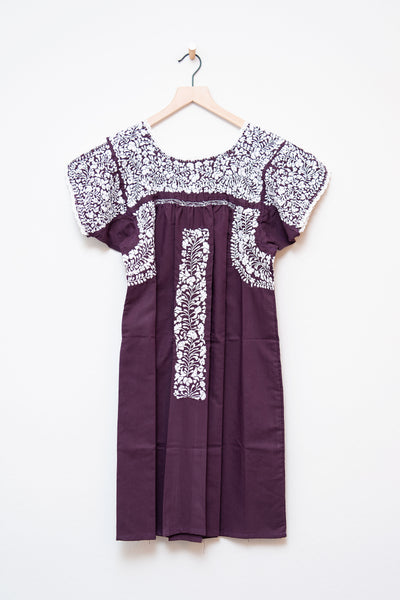 Oaxaca Maroon & White Short Sleeve Dress