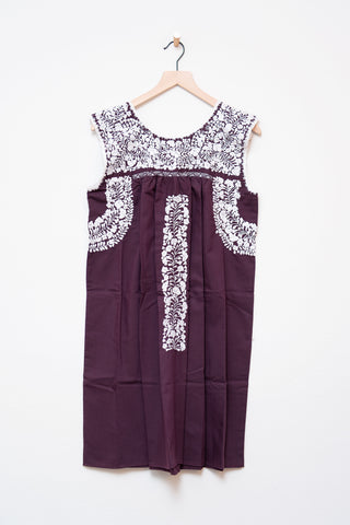 Oaxaca Maroon & White Sleeveless Dress