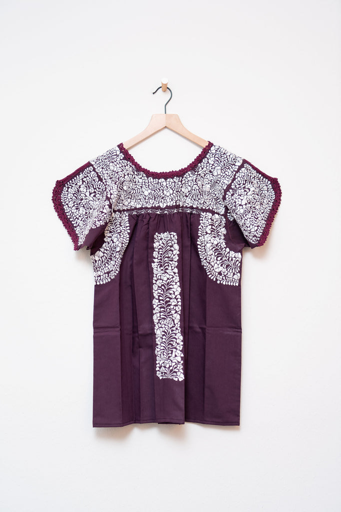 Oaxaca Maroon & White Short Sleeve Top