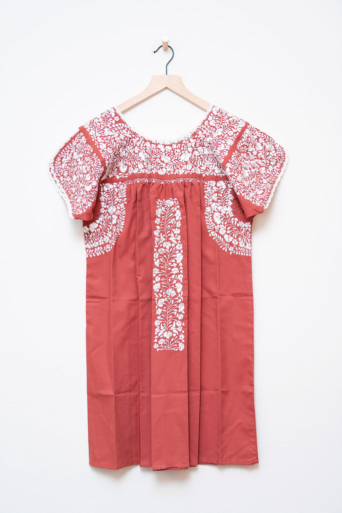 Oaxaca Burnt Orange & White Short Sleeve Dress
