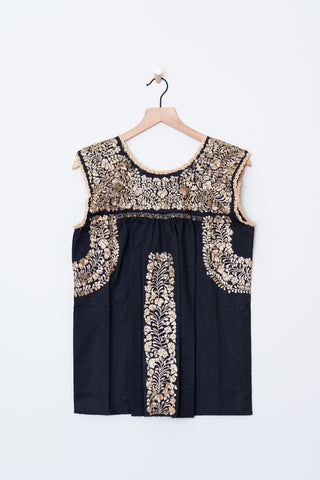 Oaxaca Black & Gold Top