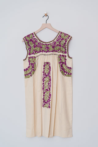 Oaxaca Pale Yellow and Purple/Green Dress