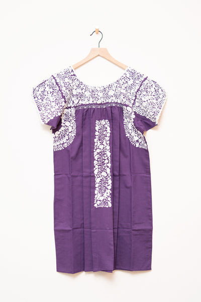 Oaxaca Purple Short Sleeve Dress