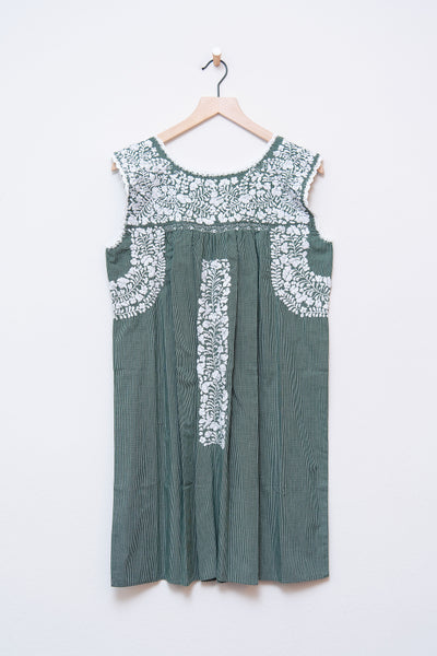 Niña Green Checked Dress
