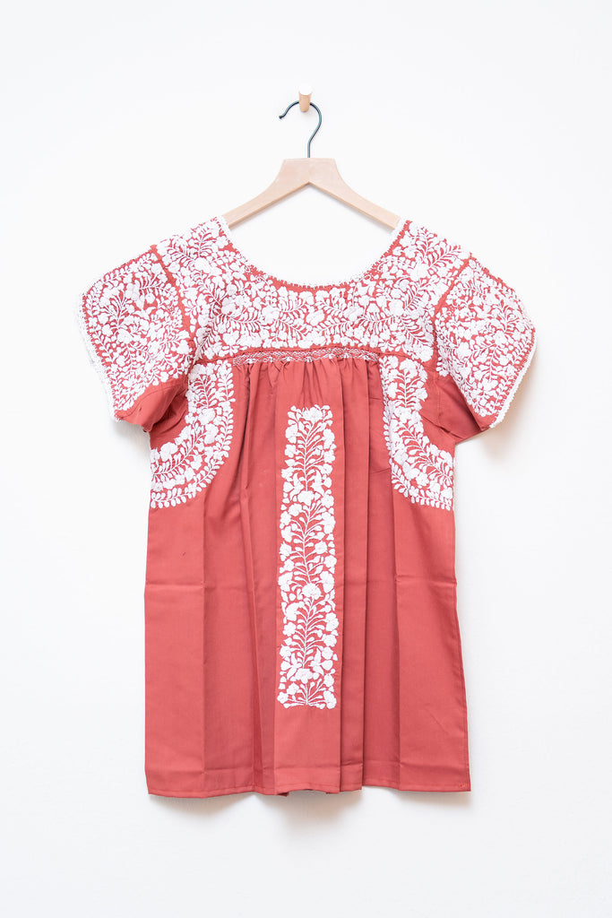 Oaxaca Burnt Orange & White Short Sleeve Top