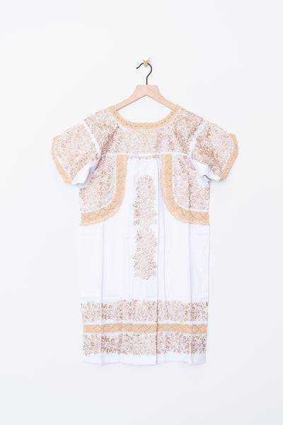 Lujoso White & Gold Dress