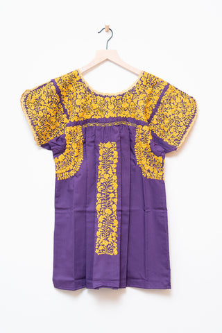 Oaxaca Purple & Gold Short Sleeve Top