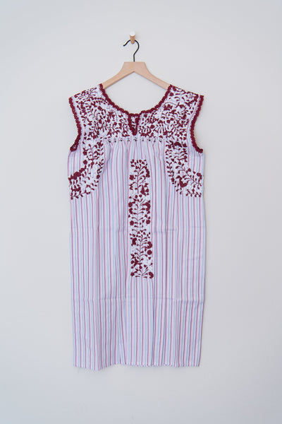 Oaxaca Blue/Pink Stripe and Maroon/White Dress