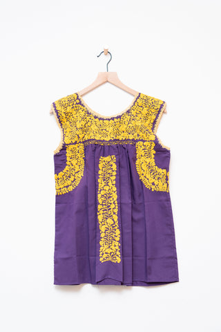 Oaxaca Purple & Gold Sleeveless Top