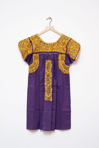Oaxaca Purple & Gold Short Sleeve Dress
