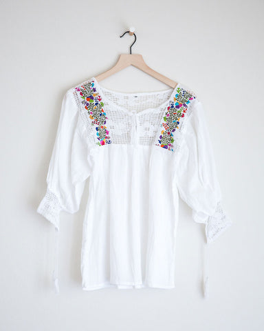 Small White and Mulit Colored Franco Top