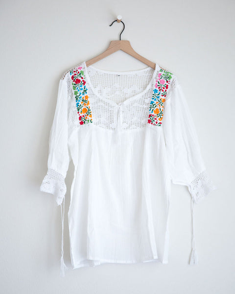 Small White and Multi Colored Franco Top