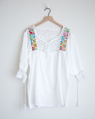 Medium White and Multi Colored Franco Top