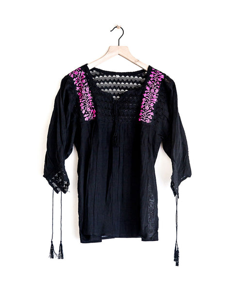 Small Black with Pink Embroidery Franco Top
